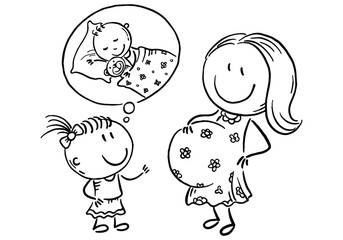 Pregnant mother and little daughter talking about the future baby, outline