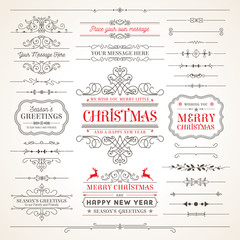 Collection of Elegant Christmas vector labels and elements