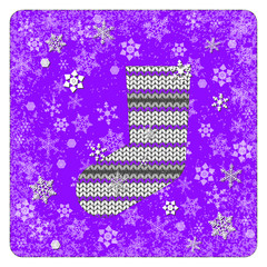 Vintage card. Knitting. Sock for gifts. Snowflakes background. White elements, purple background, frame