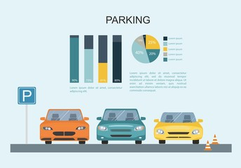 Parking lot with a set of different cars. Transporation Infographic
