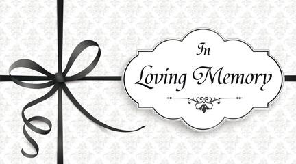 In Loving Memory Obituary Emblem Knot Cross Black Ribbon Header