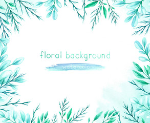 Watercolor background with green leaves and branches on a white background.
