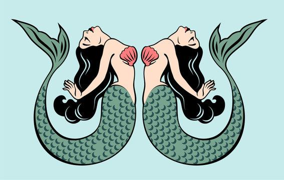 Pair of beautiful mermaids with long hair