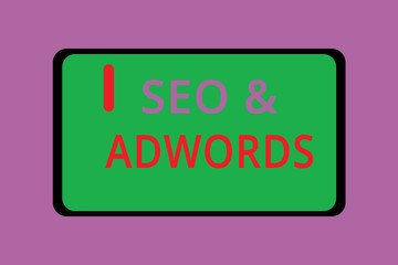 Writing note showing Seo and Adwords. Business photo showcasing Pay per click Digital marketing Google Adsense.