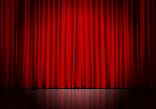 Closed red curtain background and spotlight. Theatrical drapes.