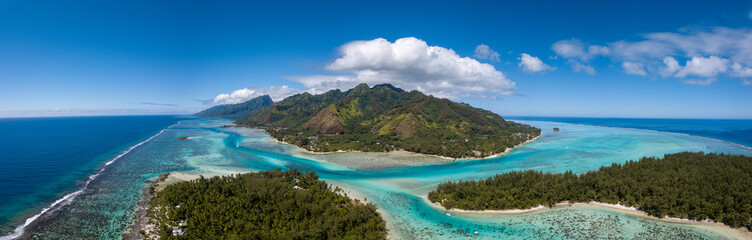 Moorea and tahiti island french polynesia lagoon aerial view