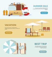 Summer Vacation and Tourism. Set Three Web banners. Beach Accessories Vector illustration.
