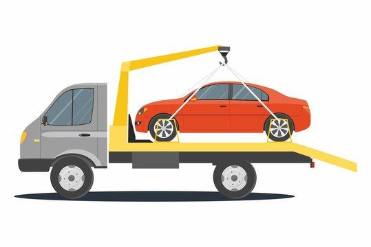 Road assistance. Car evacuator isolated on white background.