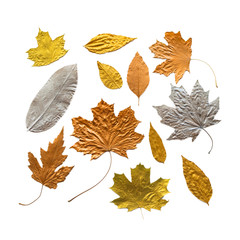 Autumn metallic gold copper silver leaves set isolated on white. Different fall metallic paint leaves kit on white background with copy space. Various metallic decorative leaves