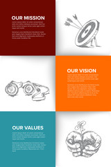 Company profile template with mission, vision and values