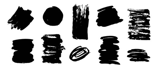Painted grunge shapes. Black ink brush strokes. Handmade scribble dirty texture. I