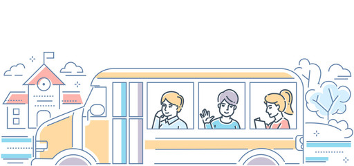School Bus - modern colorful line design style illustration