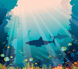 Underwater sea - sharks, coral reef and sunken ship.