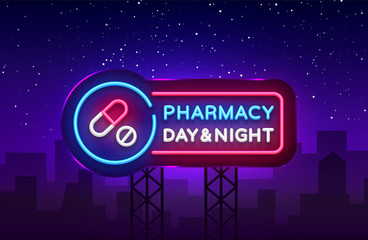 Pharmacy neon signboard vector. Medical neon glowing symbol, Light Banner, neon icon, design element. Vector illustration. Billboards