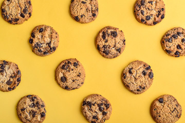 Self adhesive Wall Murals Cookies Top view of chocolate chip cookies