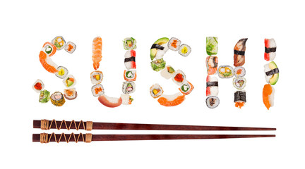 Traditional japanese sushi pieces making inscription.