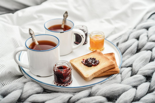 Tray with two cups of black  tea