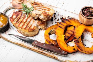 Meat steak with pumpkin