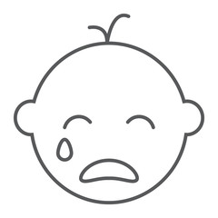 Baby boy cry line icon, emotion and child, face sign, vector graphics, a linear pattern on a white background.