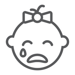 Baby girl cry line icon, emotion and child, face sign, vector graphics, a linear pattern on a white background.