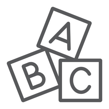 Alphabet cubes line icon, abc and toy, block sign, vector graphics, a linear pattern on a white background.