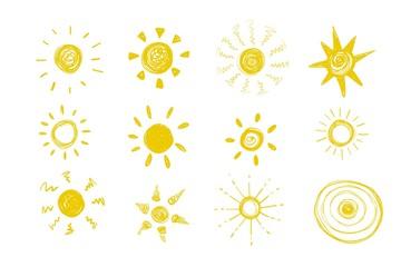 Cute hand drawn doodle sun. Vector illustration.