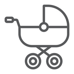 Baby carriage line icon, child and pram, buggy sign, vector graphics, a linear pattern on a white background.