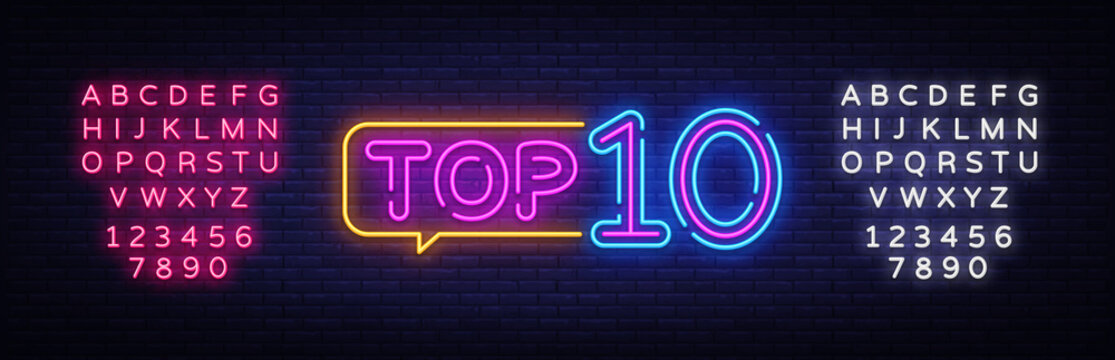 Top 10 Neon Text Vector. Top Ten neon sign, design template, modern trend design, night neon signboard, night bright advertising, light banner, light art. Vector. Editing text neon sign