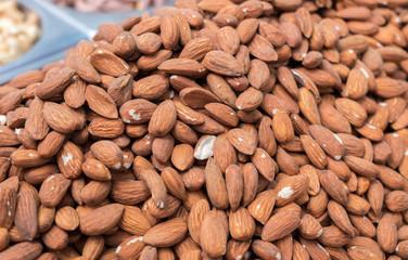 Raw almonds for sale at Jerusalem market