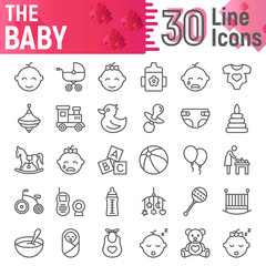 Baby line icon set, child symbols collection, vector sketches, logo illustrations, kid signs linear pictograms