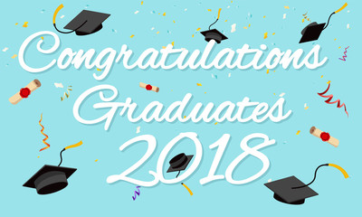 Graduation poster graduation caps scrolls confetti greeting invitation card design vector illustration