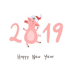 Happy new year. Postcard with cute piggy. 2019.