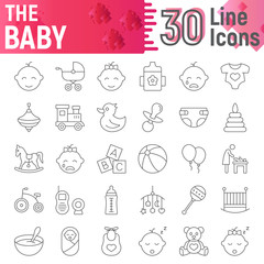 Baby thin line icon set, child symbols collection, vector sketches, logo illustrations, kid signs linear pictograms