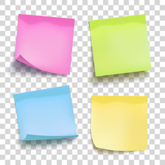 Set of color sheets of note papers. Four sticky notes. Vector illustration.