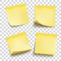 Set of yellow sheets of note papers. Four sticky notes. Vector illustration.
