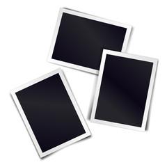 Three photorealistic blank retro photo frames. Vector illustration.