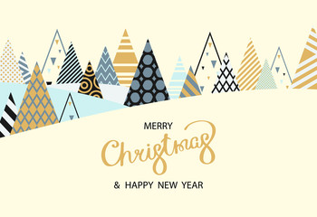 Merry Christmas and Happy New Year card with creative fir trees.