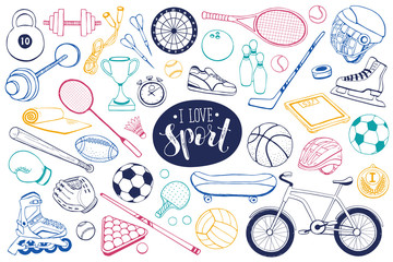 Collection of vector sport equipment. Doodle sport items illustration. Hand drawn sport balls, rackets, bicycle isolated on white background.