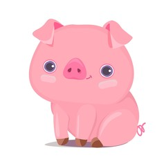 Cute Pig Vector Illustration. Cartoon Character. Chinese new year greetings