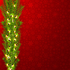 Christmas border (Weihnachten Girlande) with fir branches, pine cones, holly, and string lights. Merry Christmas background with open space for your text.