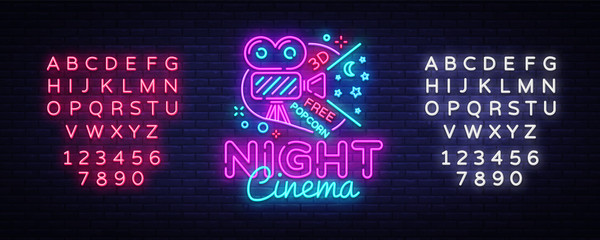 Cinema Night neon sign vector. Movie Night Design template neon sign, cinema light banner, neon signboard, nightly bright advertising, light inscription. Vector. Editing text neon sign
