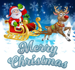 Santa Claus in his sleigh pulled by reindeer with winter landscape background cartoon and Merry Christmas message
