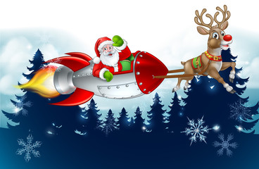 Santa Claus in a rocket sleigh pulled by reindeer Christmas cartoon with winter landscape background