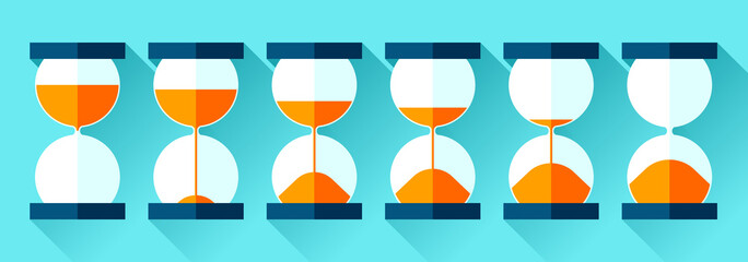 Hourglass icons set in flat style, storyboard sandglass on color background. Vector design elements for you project