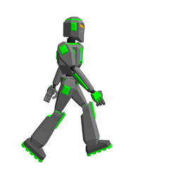 Robot character walking. Isolated on white background. Vector illustration.