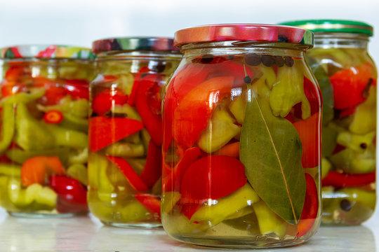 canned sweet pepper in glass jars