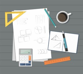Paper with ruler, pencil, pen, coffee and calculator on the table.