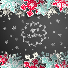 Christmas chalkboard background with snowflakes and little stars