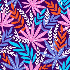 Seamless pattern with exotic leaves. Tropical leaves of palm tree.