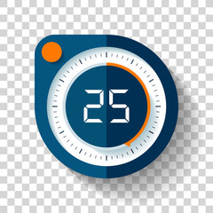 Stopwatch icon in flat style, round timer on transparent background. Sport clock. Vector design element for you business project